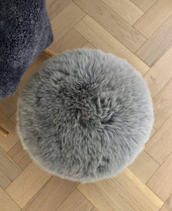 Silver grey pouffe