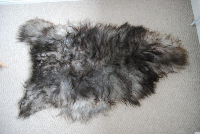 Black Tipped Grey Icelandic Sheepskin on Floor