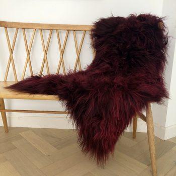 burgundy icelandic sheepskin rug