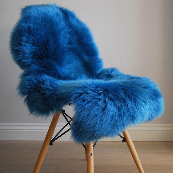 Cobalt Blue Sheepskin Rug on Chair