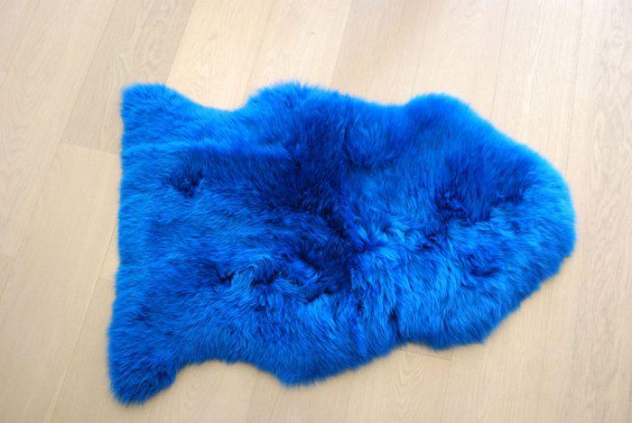 Cobalt Blue Sheepskin Rug on Floor