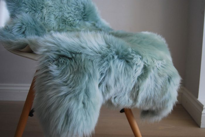 Eau De Nil Sheepskin Rug Close Up