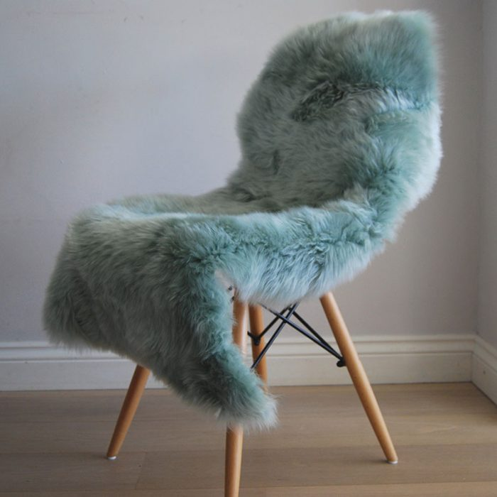Eau De Nil Sheepskin Rug on Chair