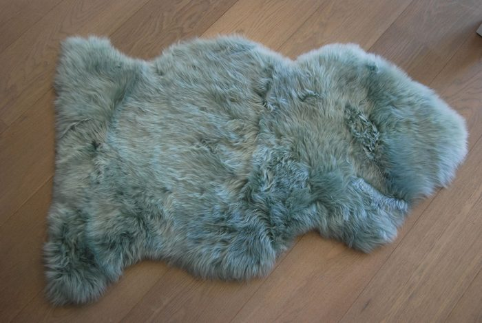 Eau De Nil Sheepskin Rug on Floor