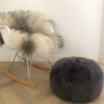 grey sheepskin pouffe