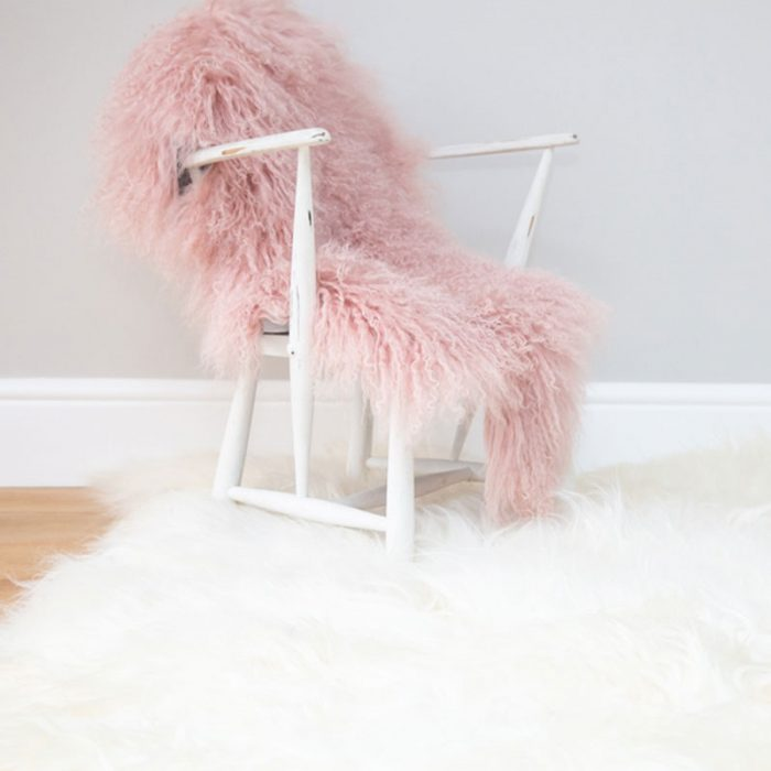 Giant Ivory Icelandic Sheepskin on White Chair Closeup