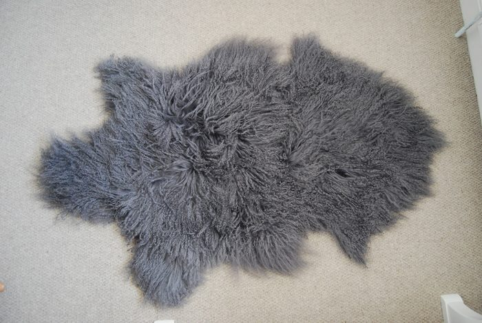Grey Curly Tibetan Luxury Long Haired Sheepskin Rug on FLOOR