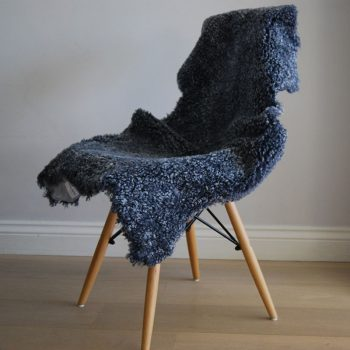 Grey Merino Wool Short Haired Sheepskin Throw on Chair