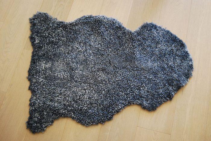 Grey Merino Wool Short Haired Sheepskin Throw on Floor