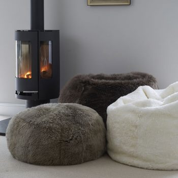 Grey Sheepskin Pouff Footstool