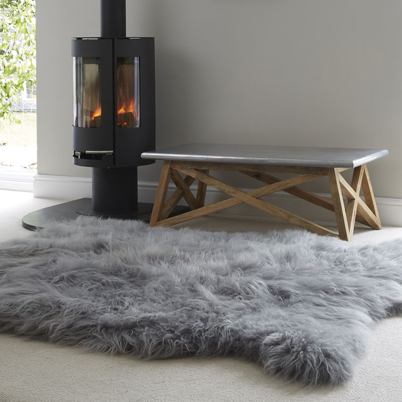A Huge Icelandic Grey Sheepskin Rug