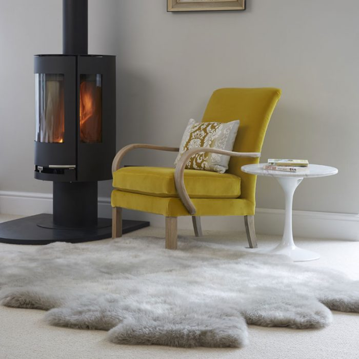Huge Silver Grey Sheepskin Rug