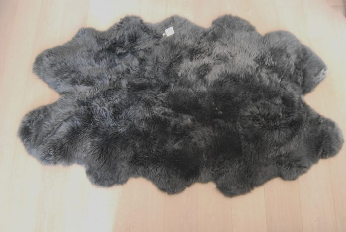 Huge Slate Grey Sheepskin Rug on Floor