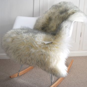 Ivory Grey Tipped Sheepskin Rug on Chair