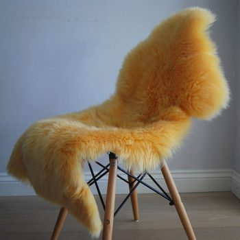 Mellow Yellow Sheepskin Rug on Chair