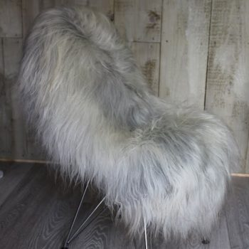 Natural Grey Undyed Icelandic Sheepskin on Chair
