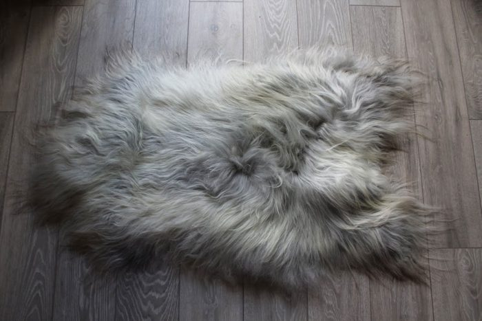 Natural Grey Undyed Icelandic Sheepskin on Floor