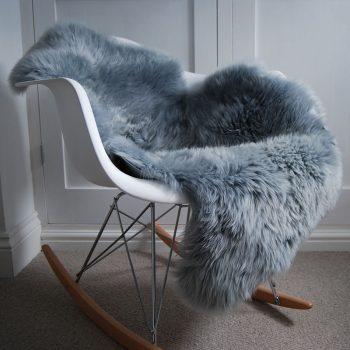 Pewter Grey Sheepskin Rug on Chair