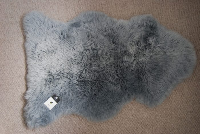 Pewter Grey Sheepskin Rug on Floor