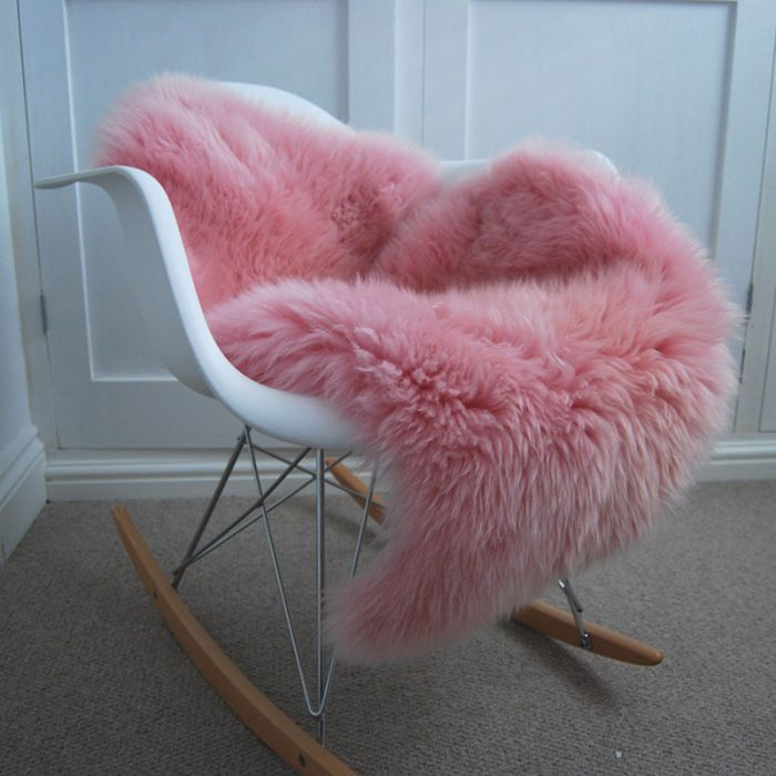 Pink British Sheepskin Rug Throw on Chair