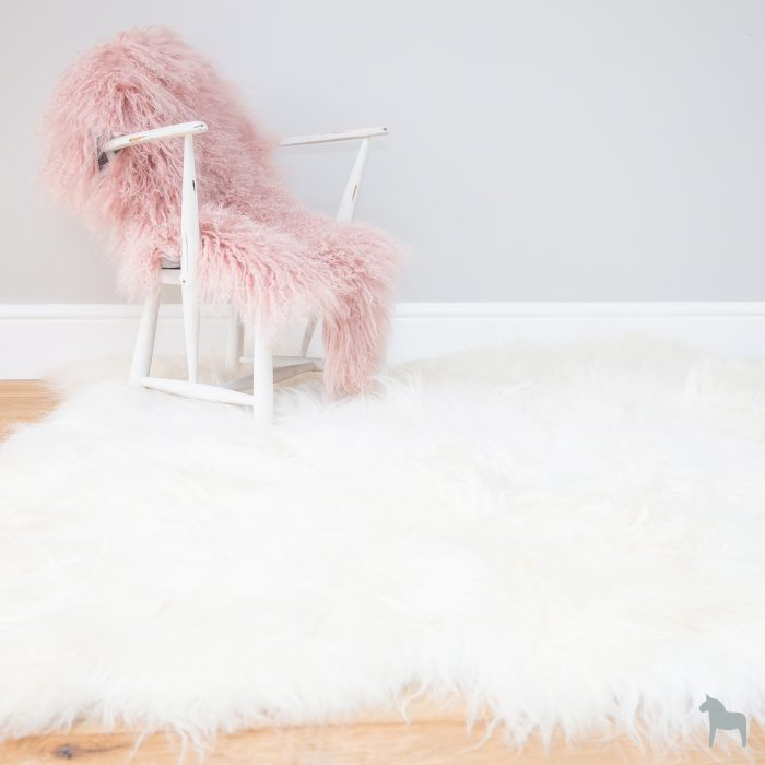Giant Ivory Icelandic Sheepskin Rug on White Chair