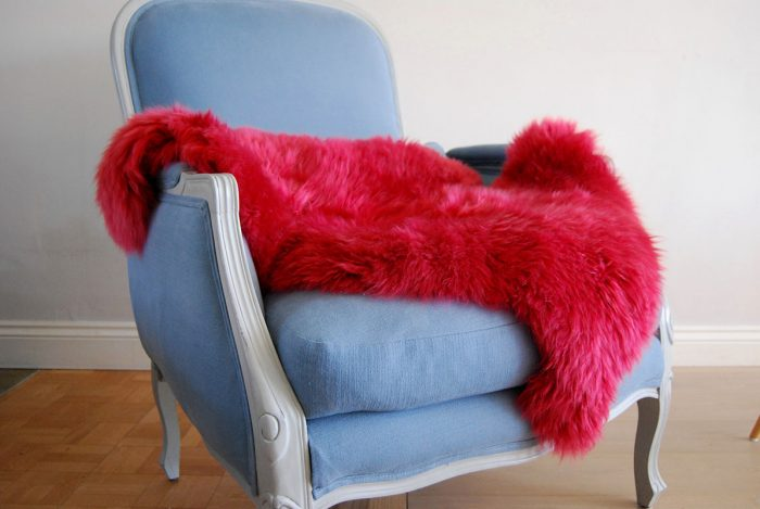 Rasberry Pink Sheepskin Rug on Chair