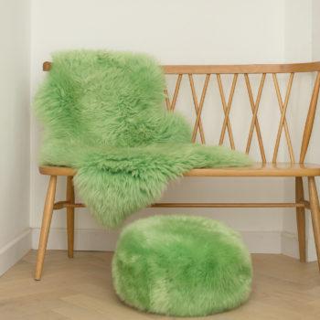 Right green sheepskin pouffe