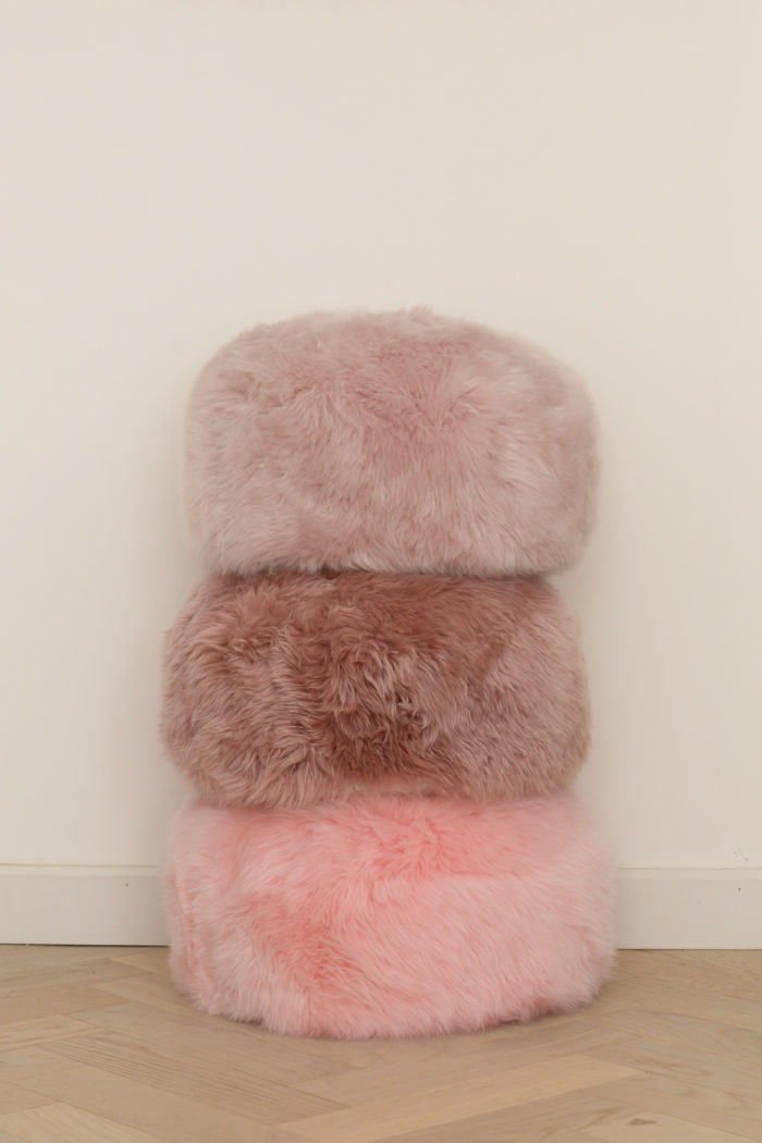 Pink stack of pouffes
