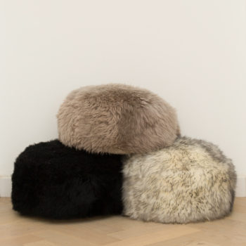 Taupe sheepskin pouffe