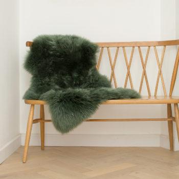 Moss green single sheepskin