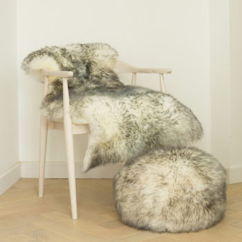 Ivory grey tipped pouffe