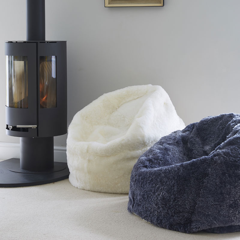 Buy A Slate Grey Shearling Sheepskin Beanbag Online At Nordic Sheepskin