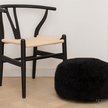 Black Pouffe with Black Chair