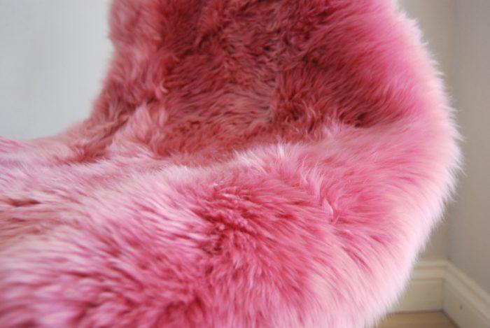 Bright Pink Sheepskin close-up
